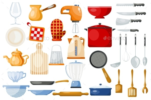 Kitchenware Vector Cookware For Cooking By Elevartun Graphicriver