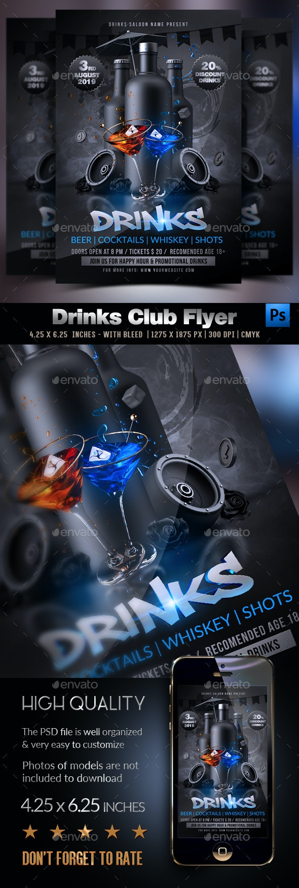 Drinks Promotion Flyer - Clubs & Parties Events