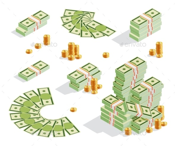 Stack of Banknotes and Golden Coins - Miscellaneous Vectors