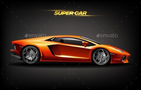 Realistic Golden Super Car Design Concept - Man-made Objects Objects