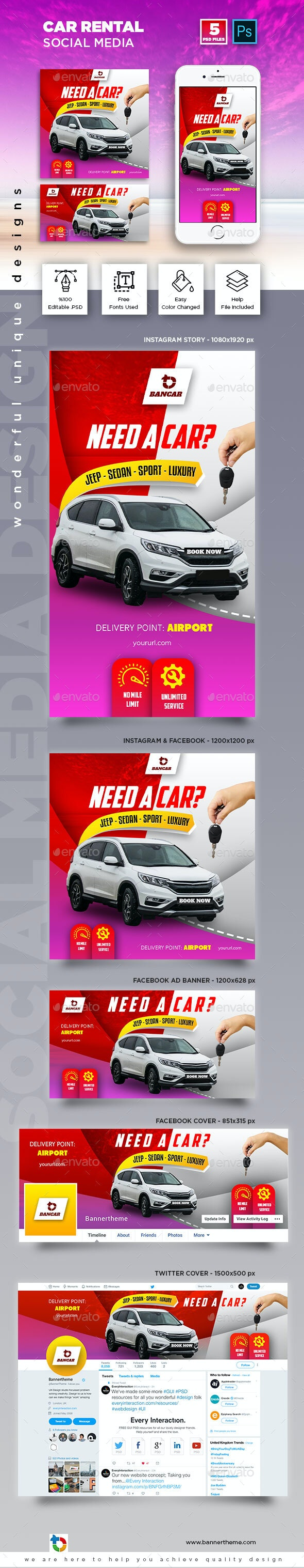 Car Rental Social Media Banner - Social Media Web Elements