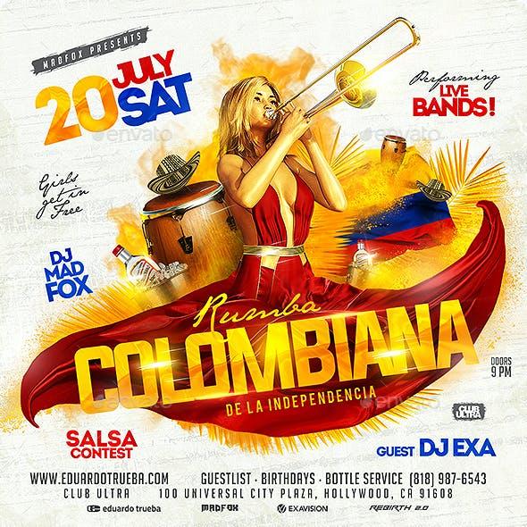 Rumba Colombiana de la Independencia Party Flyer
