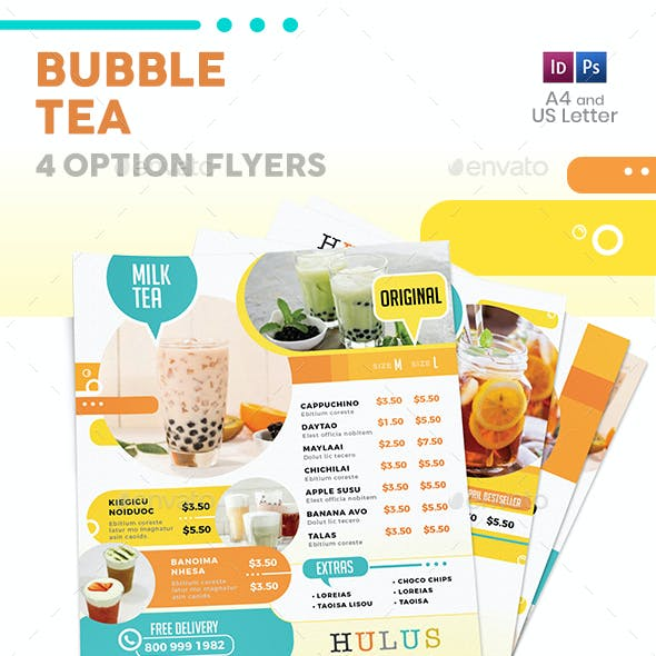 Bubble Tea Menu Flyers 5 – 4 Options