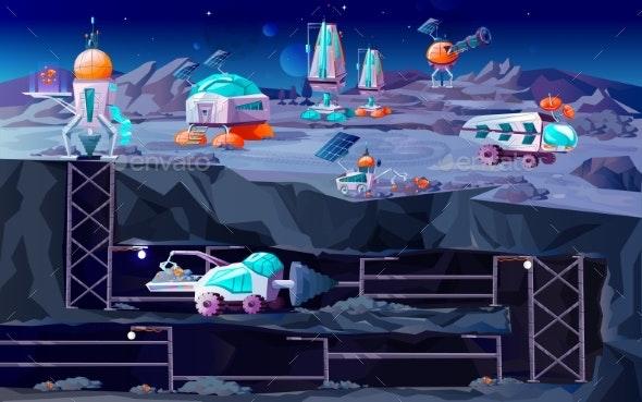 Space Planet Colonization Vector Cartoon - Technology Conceptual