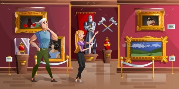 Museum Exhibition Room Cartoon Vector Illustration - Buildings Objects