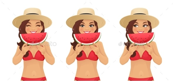 Watermelone Smile Woman - People Characters