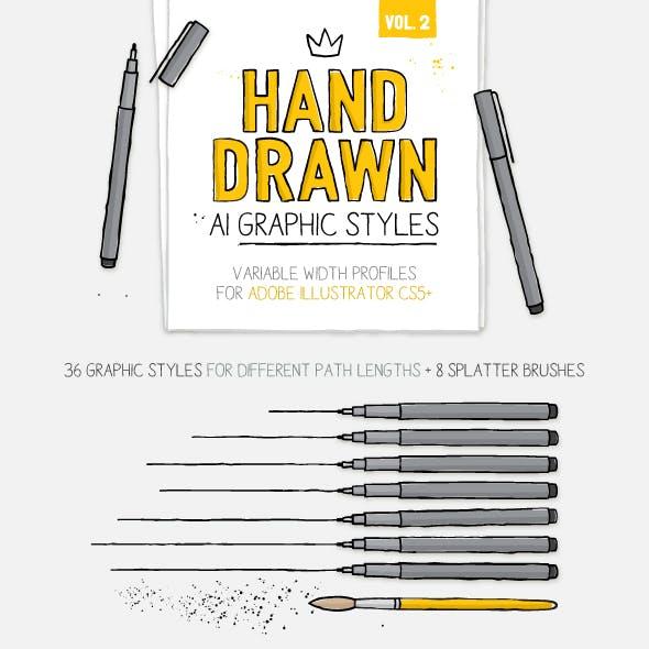 AI Hand drawn Styles & Brushes vol.2