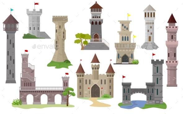 Cartoon Castle Vector Fairytale Medieval Tower - Buildings Objects