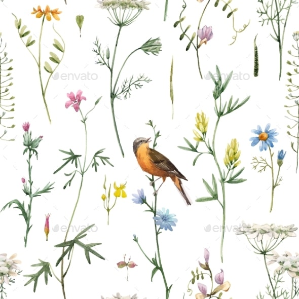 Watercolor Floral Vector Pattern - Miscellaneous Vectors