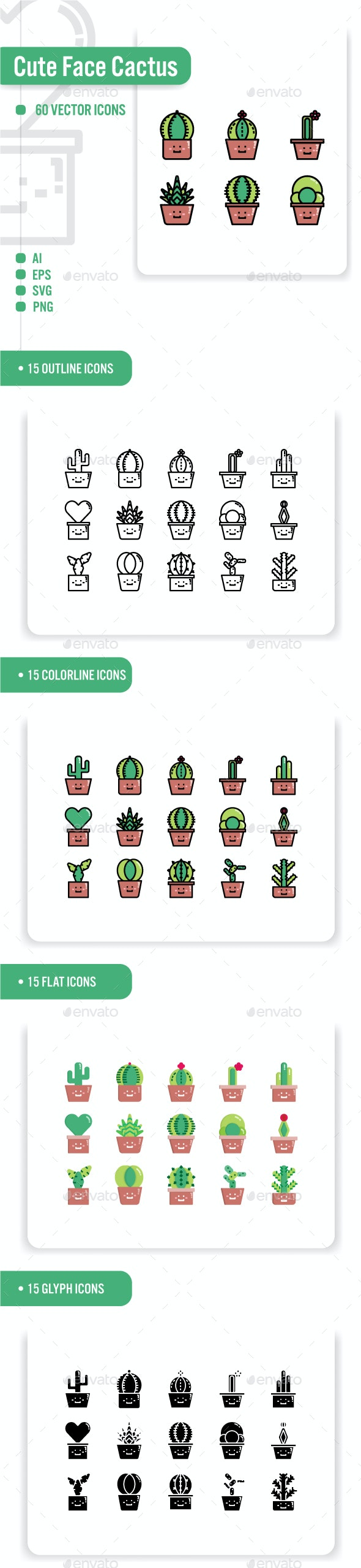 Cute Face Cactus Icon Set - Miscellaneous Characters