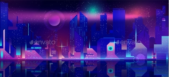 Night City in Neon Lights - Buildings Objects