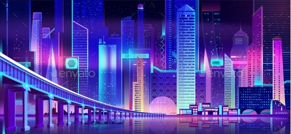 Night City with Neon Lights and Water Bay Bridge - Buildings Objects