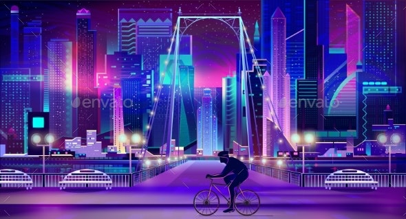 Cyclist on Nigh City Embankment Cartoon Vector - Backgrounds Decorative