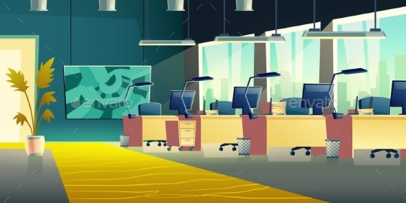 Coworking Office Hall Cartoon Vector Interior - Backgrounds Business