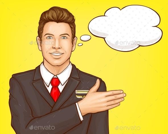 Airline Steward, Flight Attendant Vector Portrait - People Characters