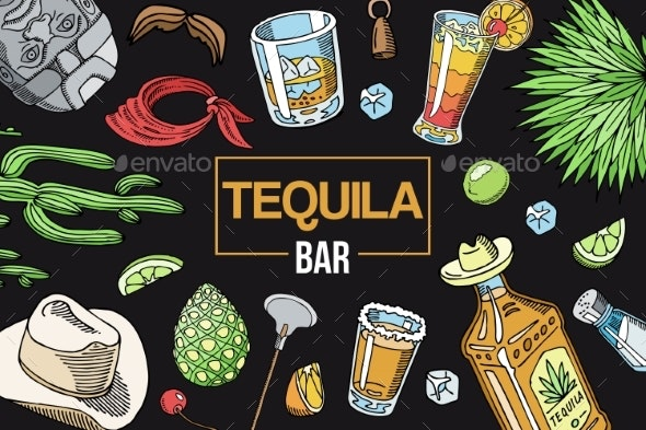 Tequila Bar Banner Vector Illustration - Food Objects