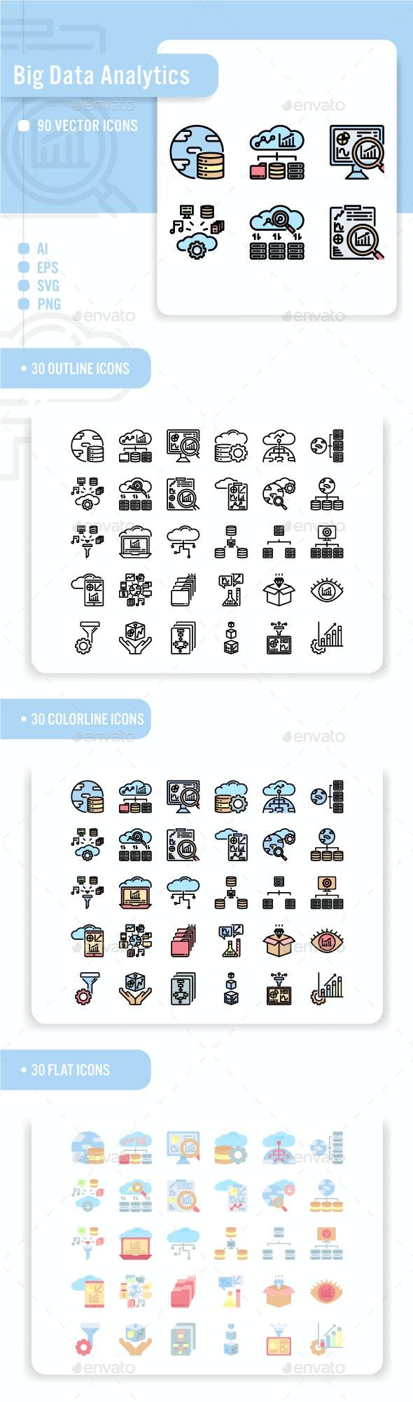 Big Data Analytics Icon Set - Technology Icons