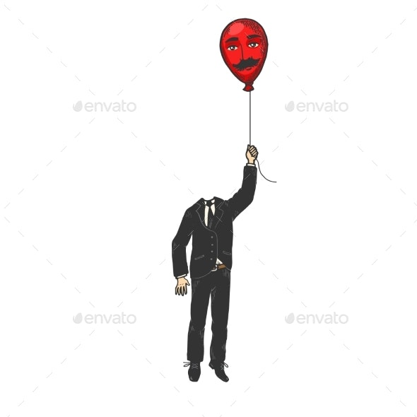 Gentleman with Balloon Head Color Sketch Engraving - Miscellaneous Vectors