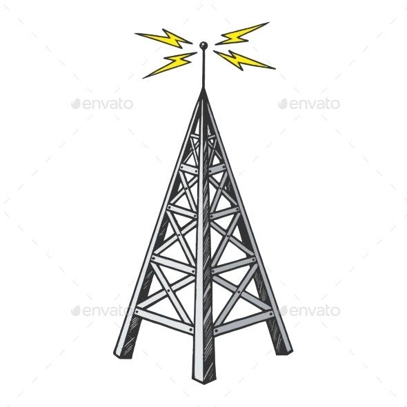 Old Radio Tower Color Sketch Engraving Vector - Miscellaneous Vectors