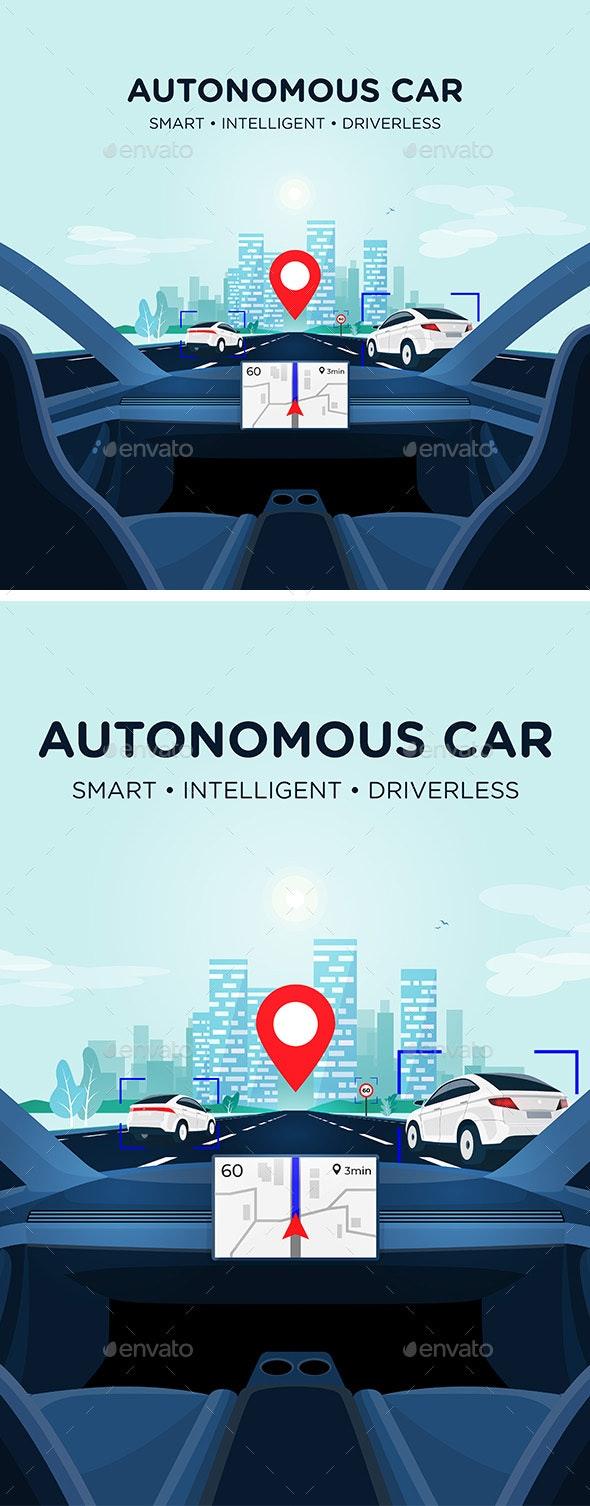 Autonomous Smart Driverless Car Self Driving - Technology Conceptual