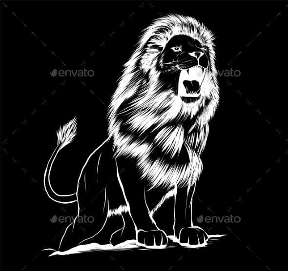 Vector Illustration of Angry Leaping Lion in Black - Animals Characters