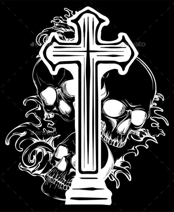 Gothic Coat of Arms with Skull and Rosary Grunge - Miscellaneous Vectors