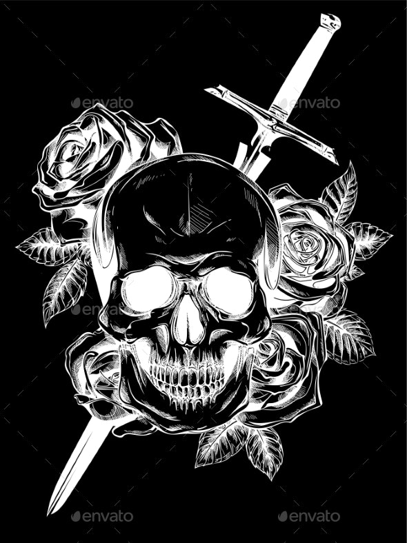 Human Skull with Roses on Black Background - Flowers & Plants Nature