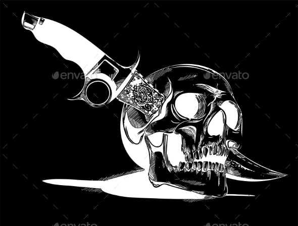 Vector Human Skull with a Knife - Miscellaneous Vectors