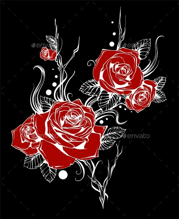 Bouquet with Red Roses and Leaves - Flowers & Plants Nature