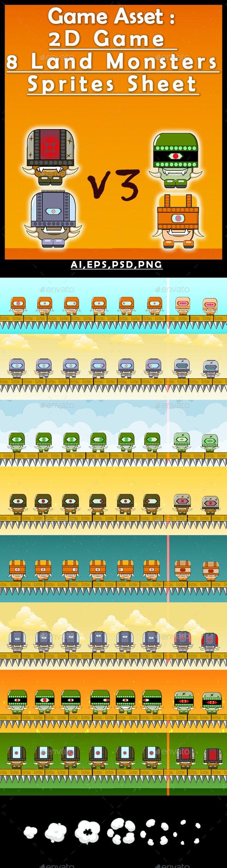Game Asset :2D Game 8 Land Monsters Sprites Sheet (V3) - Sprites Game Assets