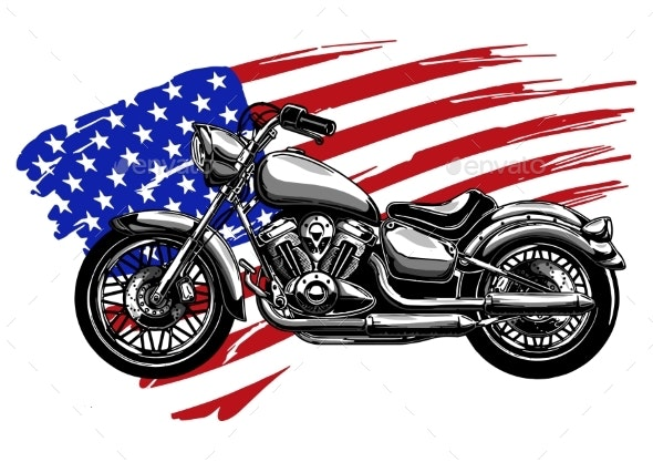 Hand Drawn and Inked Vintage American Chopper - Miscellaneous Vectors