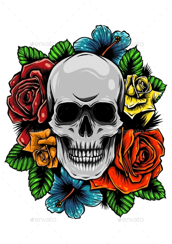 Skull Wrapped in Roses, Flowers and Leaves - Buildings Objects