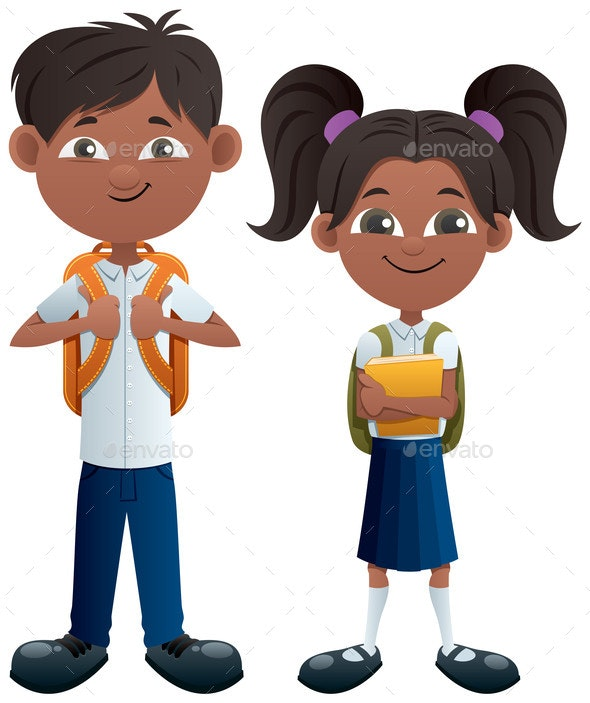 Students Indian on White - People Characters