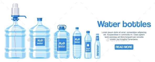 Water Bottles Made of Plastic Web Design Banner - Food Objects