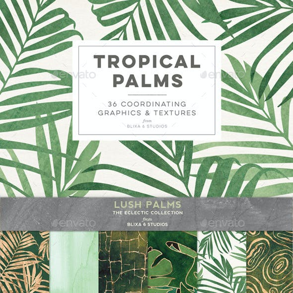 Tropical Palms: 36 Golden & Leafy Background Graphics