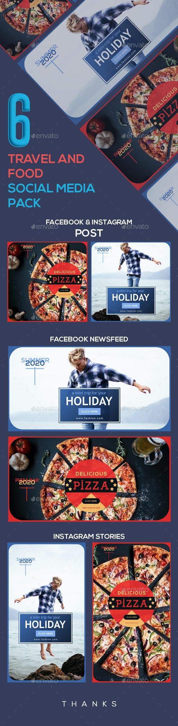 Travel And Food Social Media Pack - Social Media Web Elements
