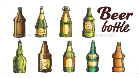 Hand Drawn Blank Color Beer Bottle Set Vector - Food Objects