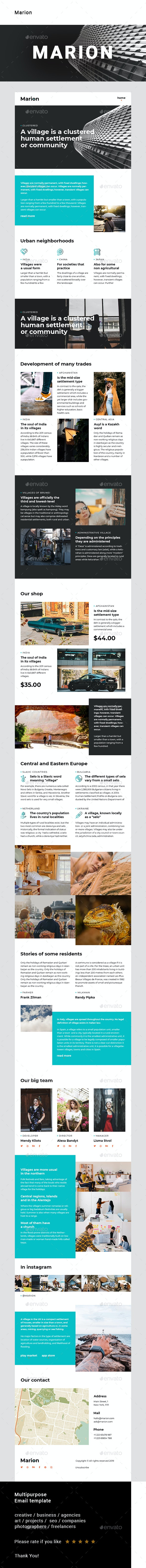 Marion – Multipurpose Email Template - E-newsletters Web Elements