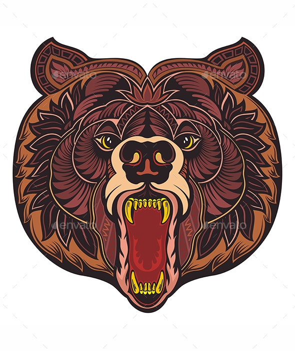 Angry Bear Head - Animals Characters