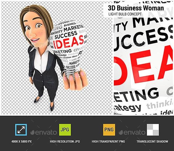 3D Business Woman Light Bulb Concept - Characters 3D Renders