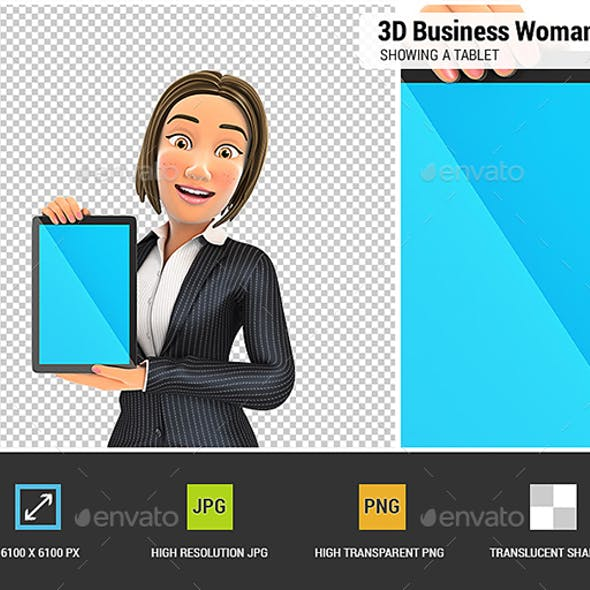 3D Business Woman Showing a Tablet