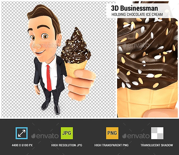 3D Businessman Holding Chocolate Ice Cream - Characters 3D Renders