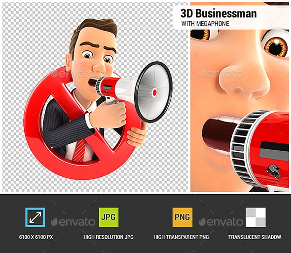 3D Businessman with Megaphone and Surrounded by a Forbidden Sign - Characters 3D Renders