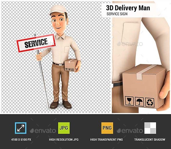 3D Delivery Man with Service Sign and Package - Characters 3D Renders