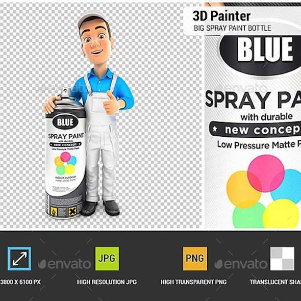 3D Painter Standing Next to Big Spray Paint Bottle