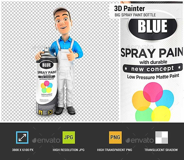3D Painter Standing Next to Big Spray Paint Bottle - Characters 3D Renders