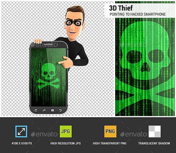 3D Thief Pointing to Hacked Smartphone - Characters 3D Renders