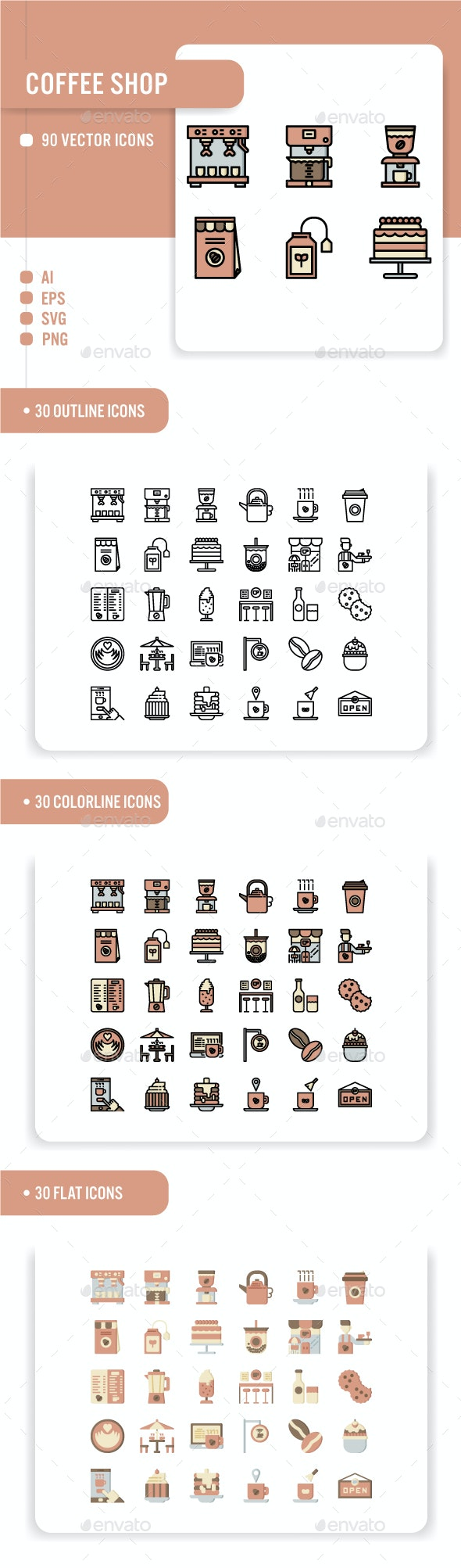 Coffee shop Icon Set - Food Objects