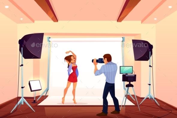 Studio Photo Shoot with Model Posing on Backstage - People Characters