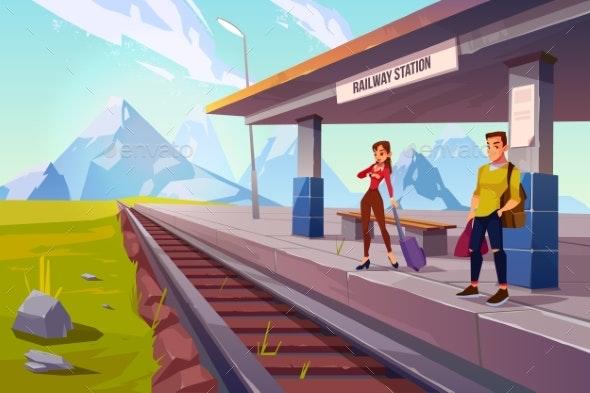 People Waiting Train on Railroad Platform - People Characters